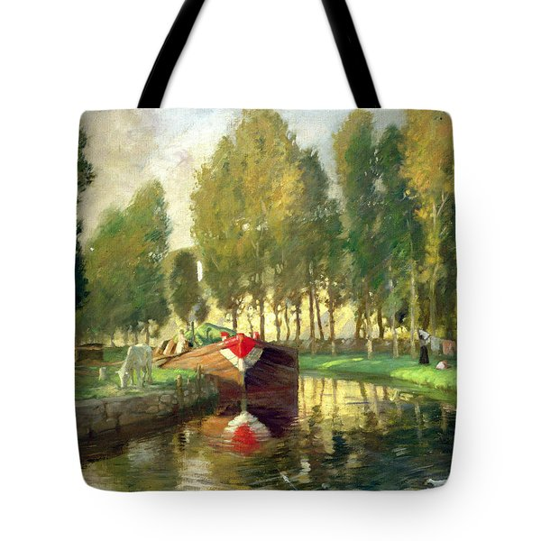 Barge On A River Normandy Tote Bag by Rupert Charles Wolston Bunny