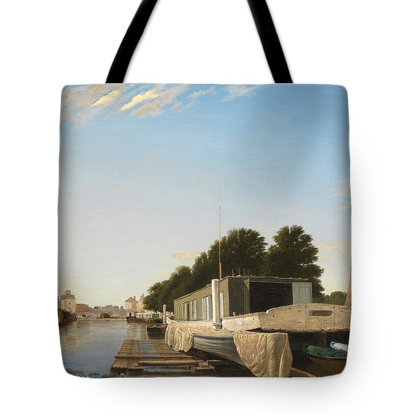 Barges At A Mooring Tote Bag by Unknown