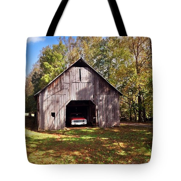 Barn An Chevy Tote Bag by Janice Spivey