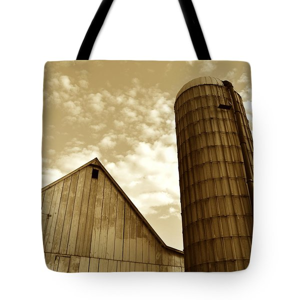 Barn And Silo In Sepia Tote Bag