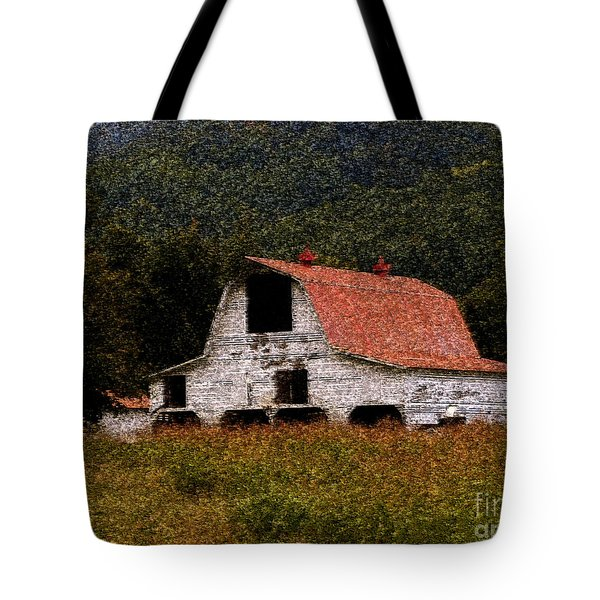 Tote Bag featuring the photograph Barn In Mountains by Lydia Holly