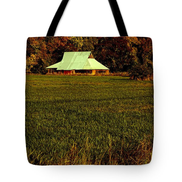 Barn In The Style Of The 60s Tote Bag by Mick Anderson
