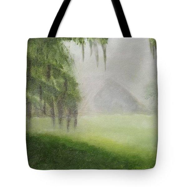 Barn On Foggy Morning Tote Bag by Margaret Harmon