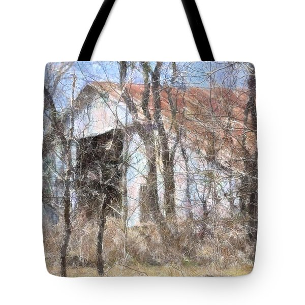 Barn Through Trees Tote Bag