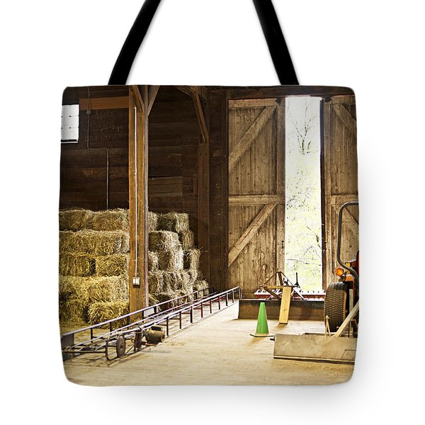 Barn With Hay Bales And Farm Equipment Tote Bag