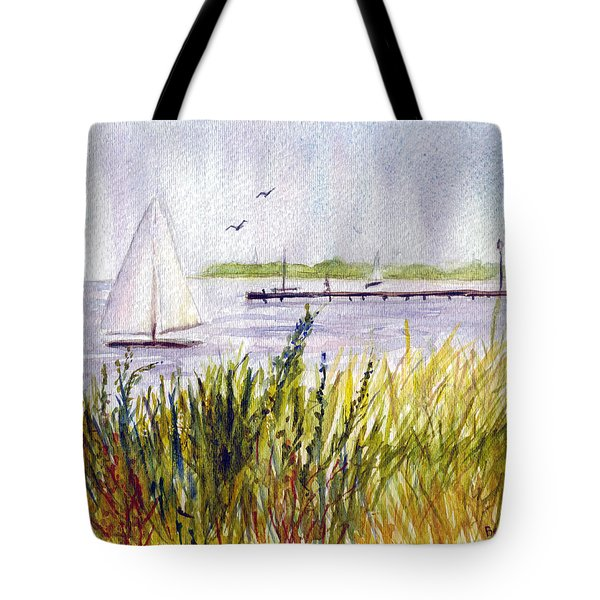 Tote Bag featuring the painting Barnegat Sails by Clara Sue Beym