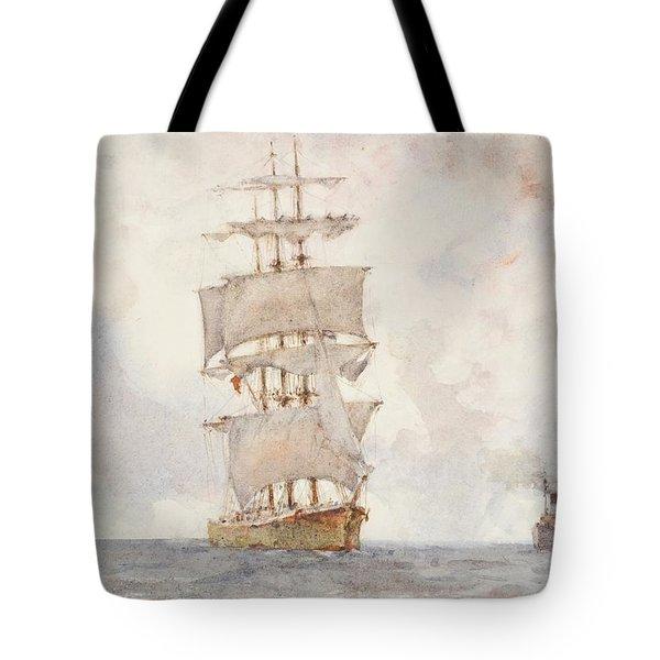 Barque And Tug Tote Bag by Henry Scott Tuke