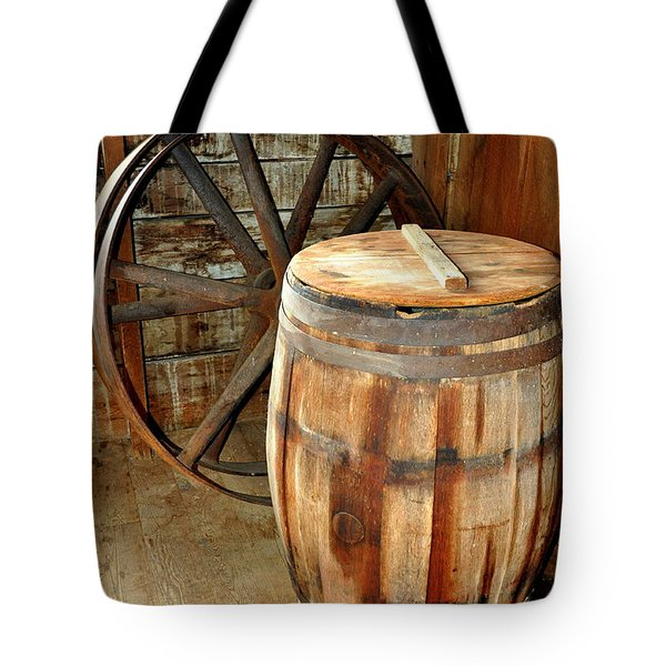 Barrel And Wheel Tote Bag by Marty Koch