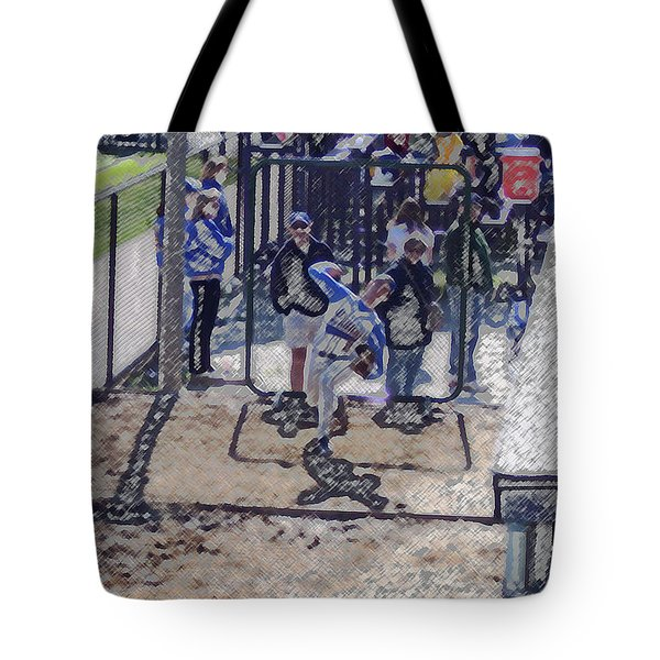 Baseball Pitcher Warming Up Digital Art Tote Bag by Thomas Woolworth