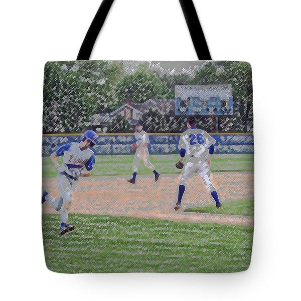 Baseball Runner Heading Home Digital Art Tote Bag by Thomas Woolworth
