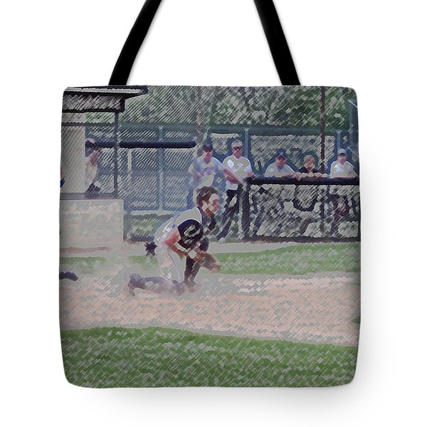 Baseball Runner Safe At Home Digital Art Tote Bag by Thomas Woolworth