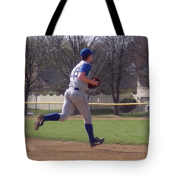 Baseball Step And Throw From Third Base Tote Bag by Thomas Woolworth