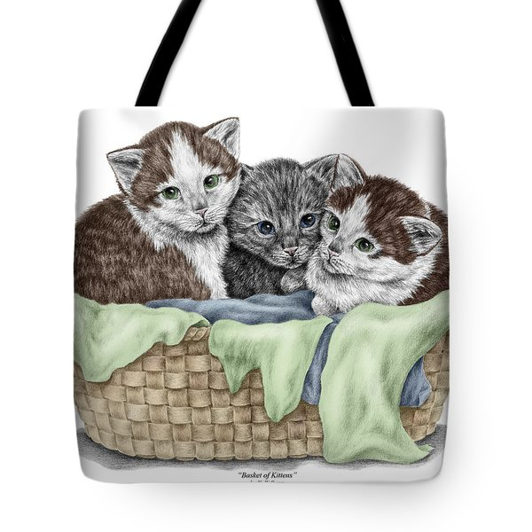 Basket Of Kittens - Cats Art Print Color Tinted Tote Bag