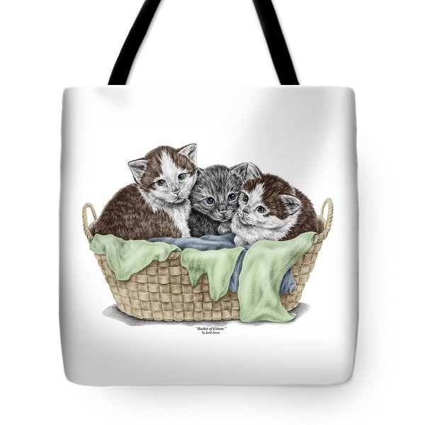 Basket Of Kittens - Cats Art Print Color Tinted Tote Bag by Kelli Swan