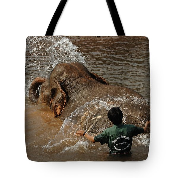 Bath Time In Laos Tote Bag by Bob Christopher