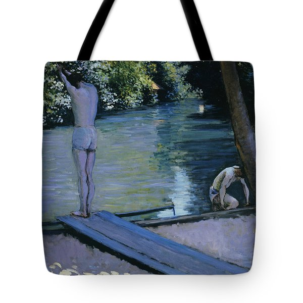 Bather About To Plunge Into The River Yerres Tote Bag by Gustave Caillebotte