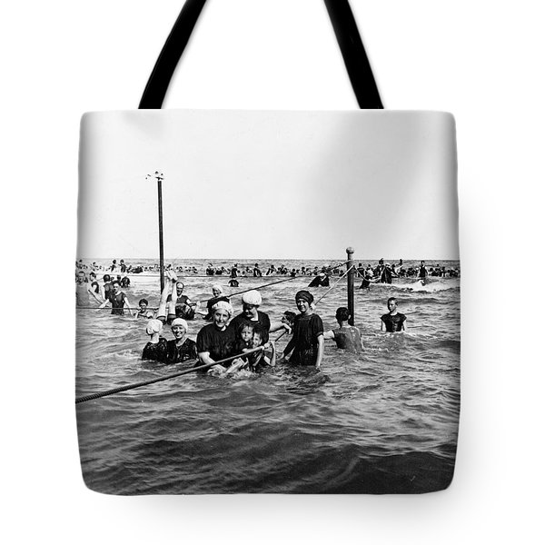 Bathing In The Gulf Of Mexico - Galveston Texas  C 1914 Tote Bag