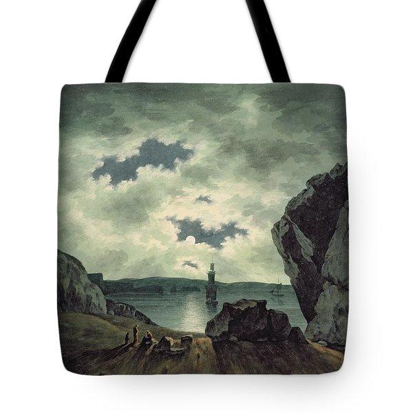 Bay Scene In Moonlight Tote Bag by John Warwick Smith