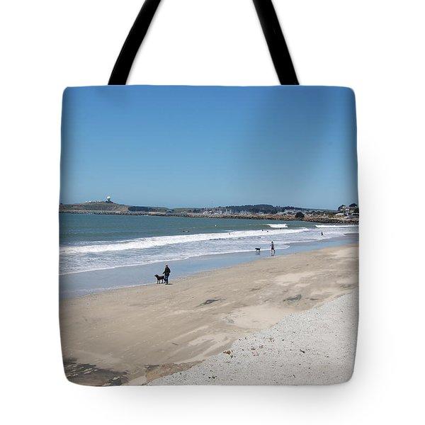 Beach At El Granada Tote Bag by Carolyn Donnell