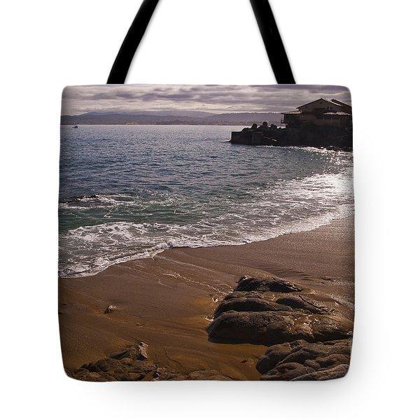 Beach At Monteray Bay Tote Bag by Darcy Michaelchuk
