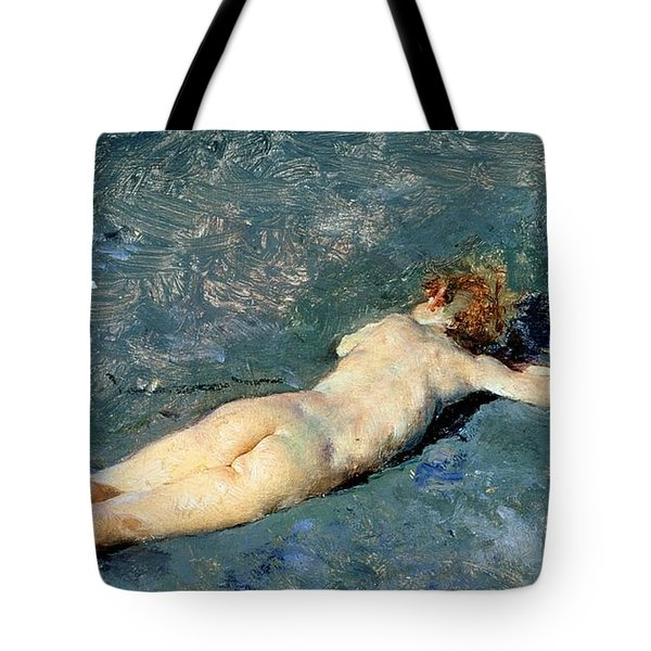 Beach At Portici Tote Bag by Mariano Fortuny y Marsal