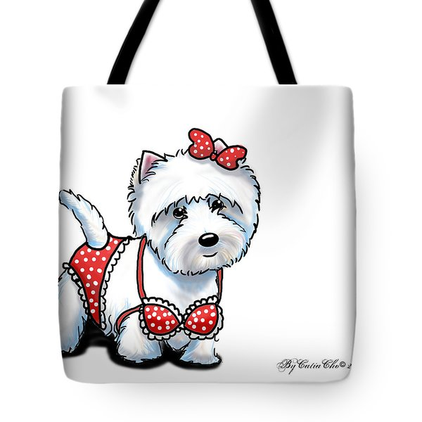 Beach Babe Westie Tote Bag