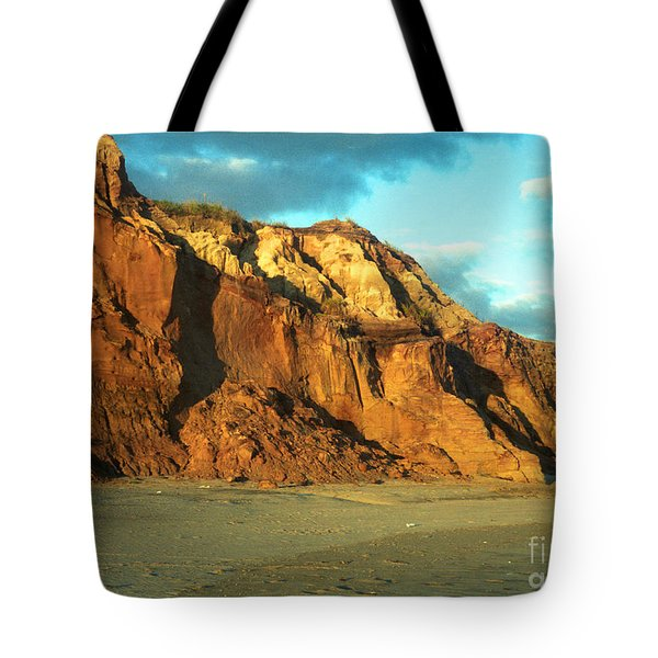 Beach Cliff At Sunset Tote Bag