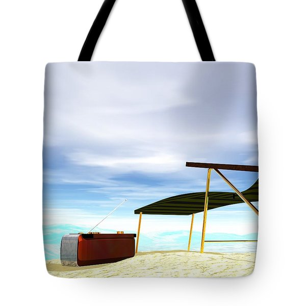 Tote Bag featuring the digital art Beach Day by John Pangia