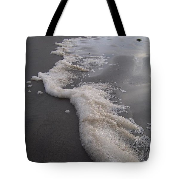 Tote Bag featuring the photograph Beach Foam Art by Peter Mooyman