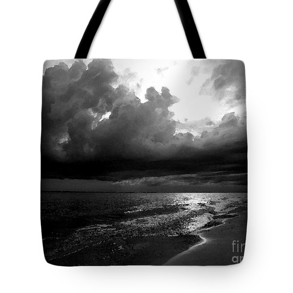 Beach In Black And White Tote Bag by Jeff Breiman