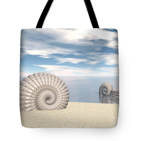 Tote Bag featuring the digital art Beach Of Shells by Phil Perkins