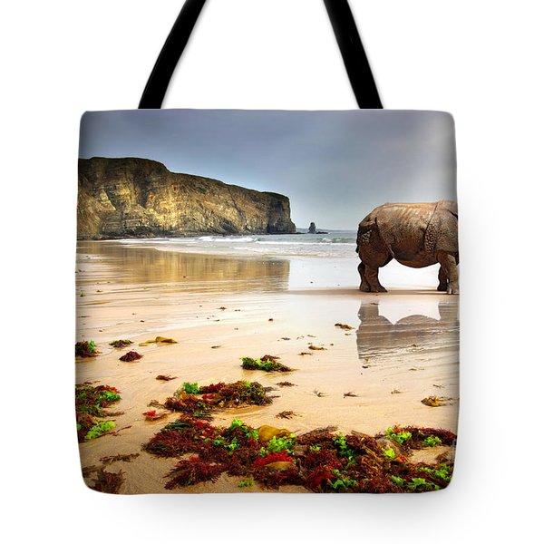 Beach Rhino Tote Bag by Carlos Caetano