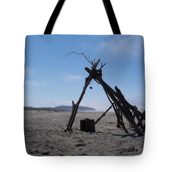Beach Shelter Skeleton Tote Bag by Peter Mooyman