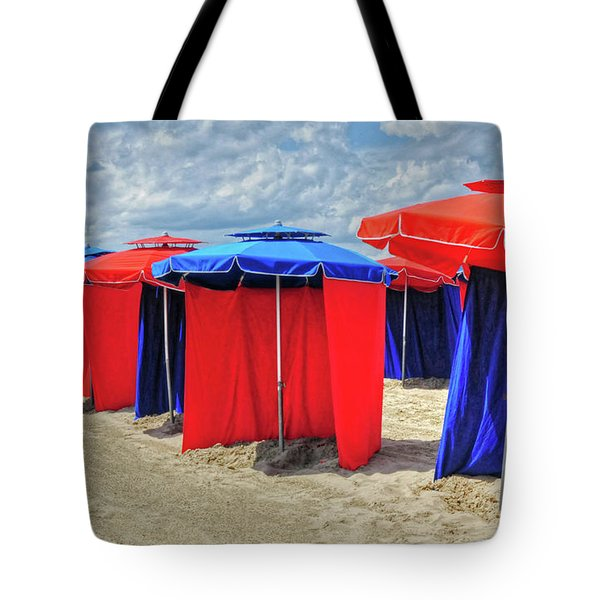Tote Bag featuring the photograph Beach Umbrellas Nice France by Dave Mills