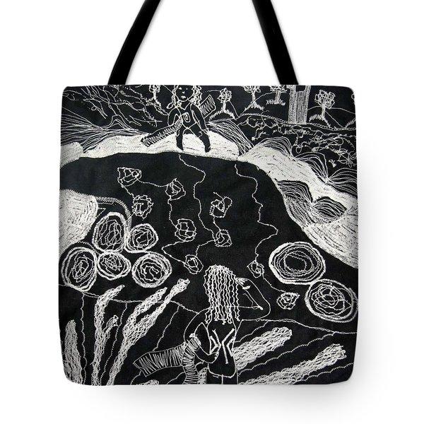 Beach Walking On Rocks Tote Bag by Karen Elzinga