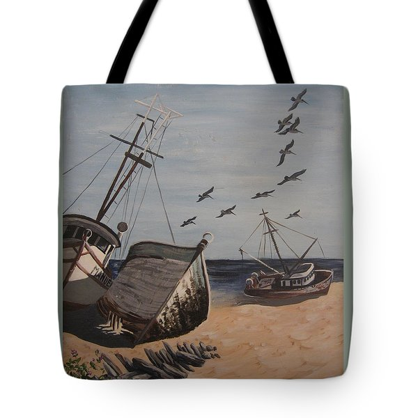 Beached Boats Tote Bag by Barbara Prestridge