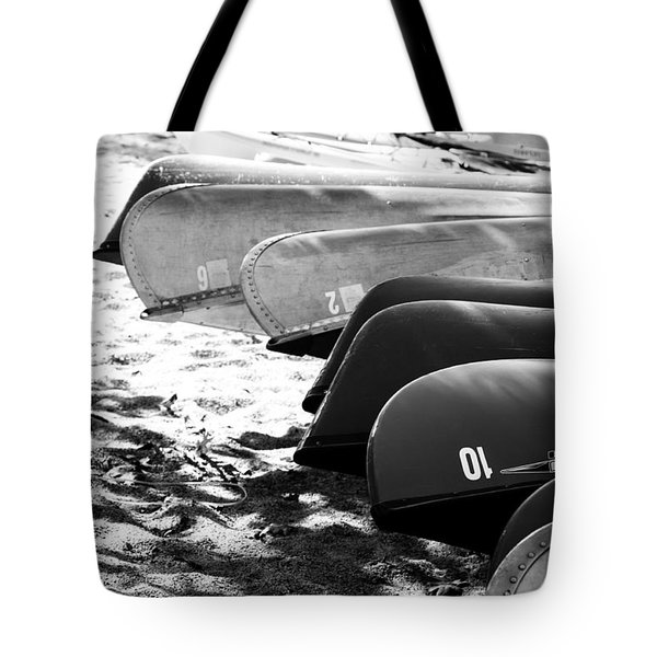 Tote Bag featuring the photograph Beached Kayaks by Julia Wilcox