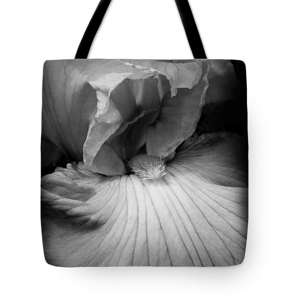 Bearded Iris Flower Black And White Tote Bag by Jennie Marie Schell
