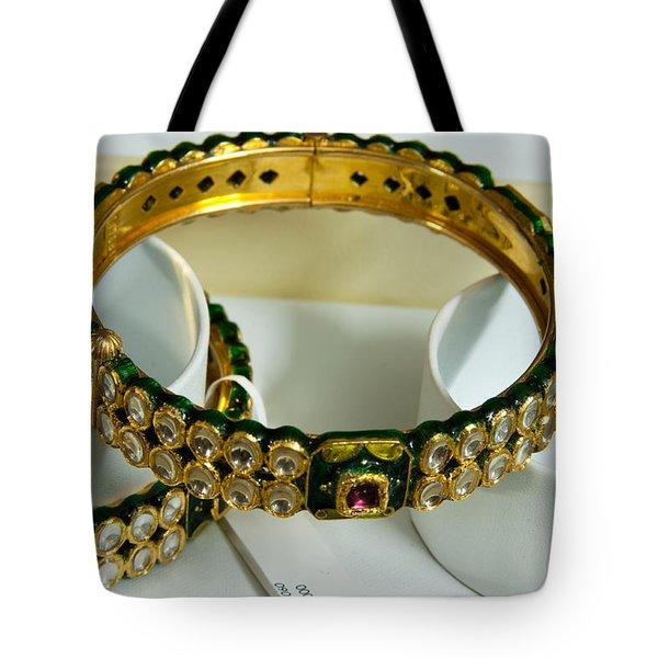 Beautiful Green And Purple Covered Gold Bangles With Semi-precious Stones Inlaid Tote Bag by Ashish Agarwal