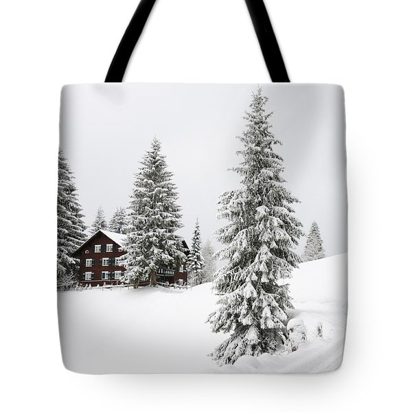 Beautiful Winter Landscape With Trees And House Tote Bag by Matthias Hauser