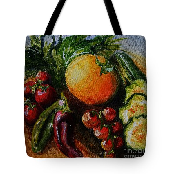 Tote Bag featuring the painting Beauty Of Good Eats by Karen  Ferrand Carroll