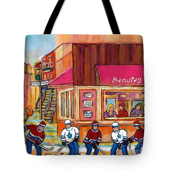 Beauty's Restaurant-montreal Street Scene Painting-hockey Game-hockeyart Tote Bag by Carole Spandau