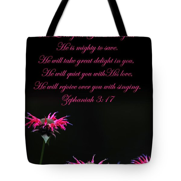 Tote Bag featuring the photograph Bee Balm And Bible Verse by Randall Branham