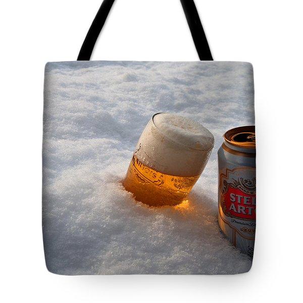 Beer In The Snow Tote Bag by Rob Hawkins