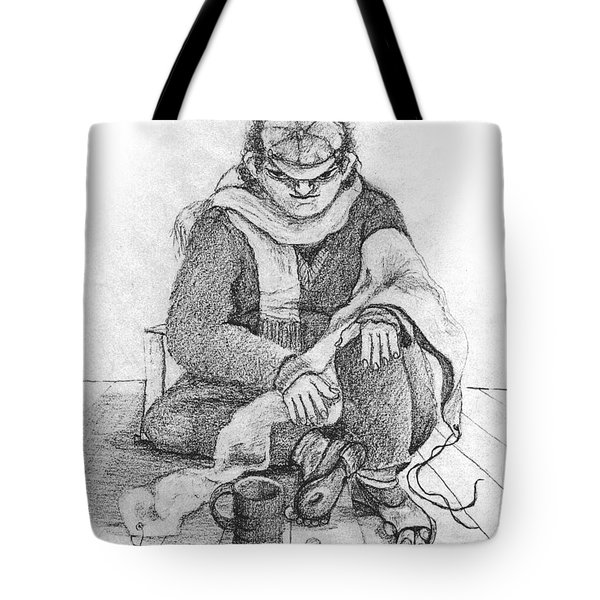 Beggar 2  In The  Winter Street Sitting On Floor Wearing Worn Out Cloths Tote Bag by Rachel Hershkovitz