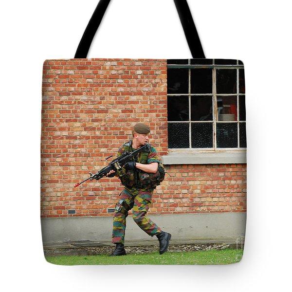 Belgian Infantrists Under Attack Tote Bag by Luc De Jaeger
