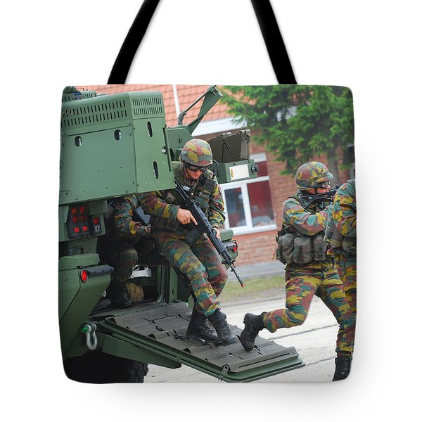 Belgian Infantry Soldiers Exit Tote Bag by Luc De Jaeger