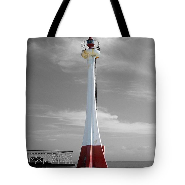 Tote Bag featuring the photograph Belize City Lighthouse Color Splash Black And White by Shawn O'Brien