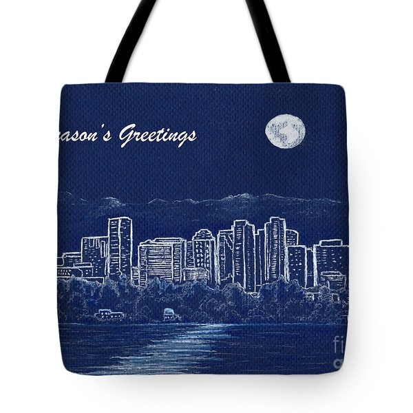 Tote Bag featuring the painting Bellevue Skyline Holiday Card by Phyllis Howard