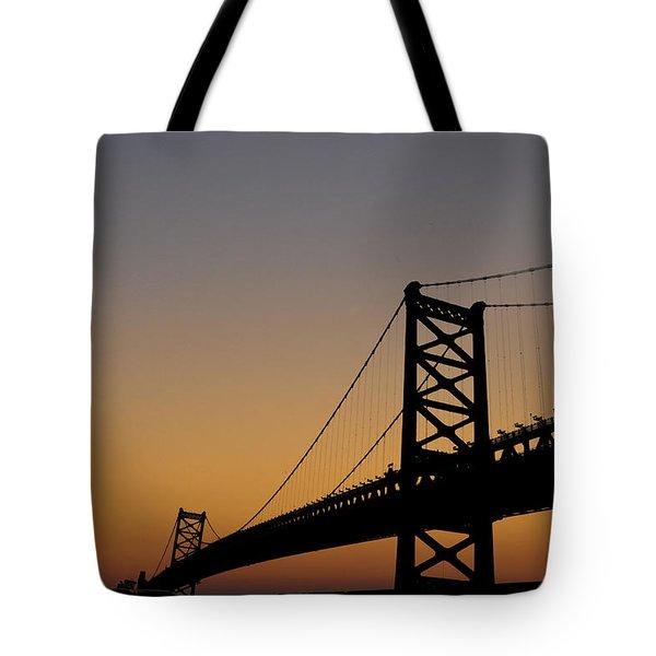 Ben Franklin Bridge Sunrise Tote Bag by Bill Cannon